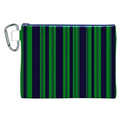 Dark Blue Green Striped Pattern Canvas Cosmetic Bag (xxl)