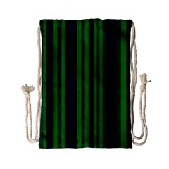Dark Blue Green Striped Pattern Drawstring Bag (small)