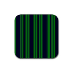 Dark Blue Green Striped Pattern Rubber Square Coaster (4 Pack)