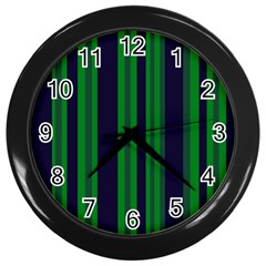 Dark Blue Green Striped Pattern Wall Clocks (black)