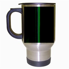 Dark Blue Green Striped Pattern Travel Mug (silver Gray)