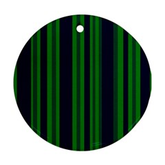 Dark Blue Green Striped Pattern Round Ornament (two Sides)