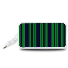 Dark Blue Green Striped Pattern Portable Speaker (white)