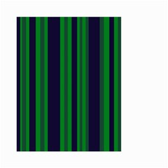 Dark Blue Green Striped Pattern Small Garden Flag (Two Sides)