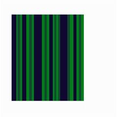 Dark Blue Green Striped Pattern Large Garden Flag (two Sides)
