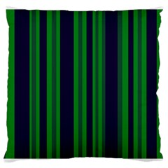 Dark Blue Green Striped Pattern Large Cushion Case (two Sides)