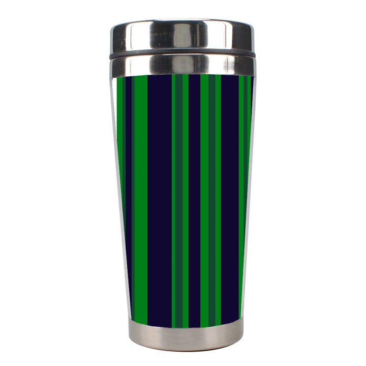 Dark Blue Green Striped Pattern Stainless Steel Travel Tumblers