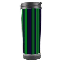 Dark Blue Green Striped Pattern Travel Tumblers