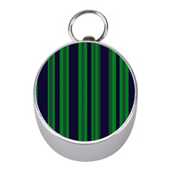 Dark Blue Green Striped Pattern Mini Silver Compasses
