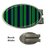 Dark Blue Green Striped Pattern Money Clips (Oval)  Front