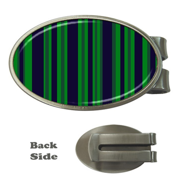 Dark Blue Green Striped Pattern Money Clips (Oval)