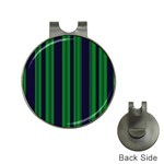 Dark Blue Green Striped Pattern Hat Clips with Golf Markers Front