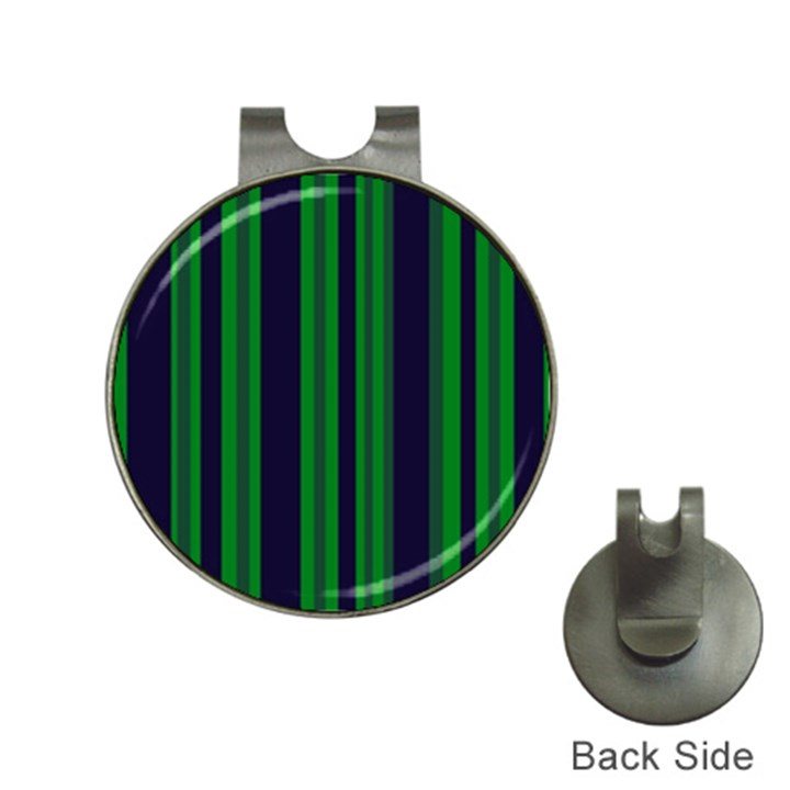 Dark Blue Green Striped Pattern Hat Clips with Golf Markers