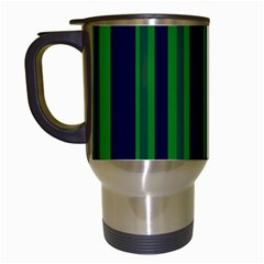 Dark Blue Green Striped Pattern Travel Mugs (white)