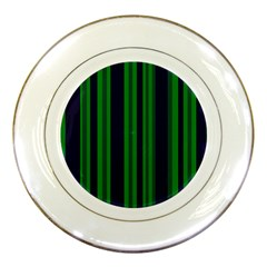 Dark Blue Green Striped Pattern Porcelain Plates