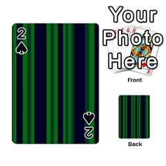 Dark Blue Green Striped Pattern Playing Cards 54 Designs