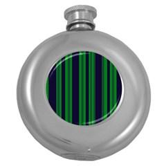 Dark Blue Green Striped Pattern Round Hip Flask (5 Oz)