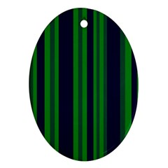 Dark Blue Green Striped Pattern Oval Ornament (two Sides)