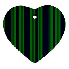 Dark Blue Green Striped Pattern Heart Ornament (2 Sides)