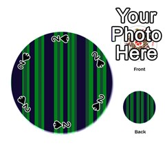 Dark Blue Green Striped Pattern Playing Cards 54 (round)