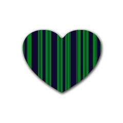 Dark Blue Green Striped Pattern Heart Coaster (4 Pack)