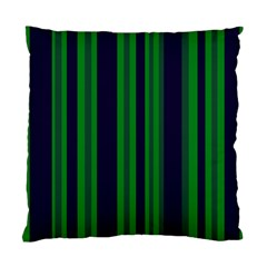 Dark Blue Green Striped Pattern Standard Cushion Case (two Sides)