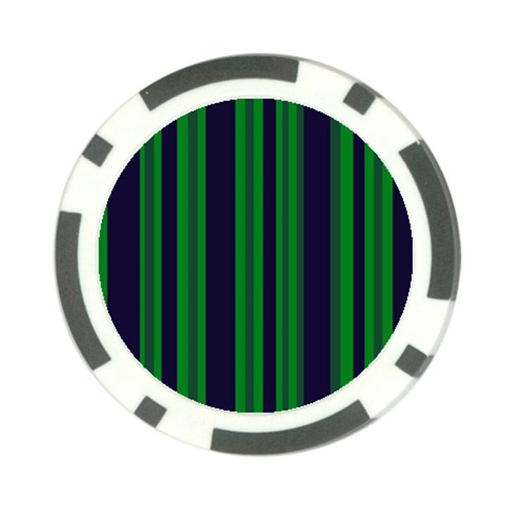 Dark Blue Green Striped Pattern Poker Chip Card Guards (10 pack)