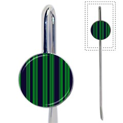 Dark Blue Green Striped Pattern Book Mark