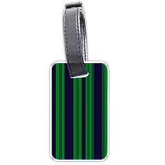 Dark Blue Green Striped Pattern Luggage Tags (one Side)