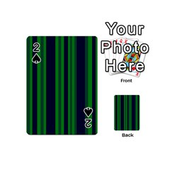 Dark Blue Green Striped Pattern Playing Cards 54 (mini)