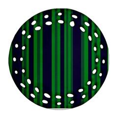 Dark Blue Green Striped Pattern Ornament (round Filigree)