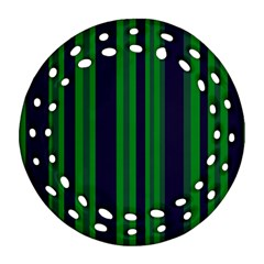 Dark Blue Green Striped Pattern Round Filigree Ornament (2side)