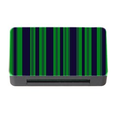 Dark Blue Green Striped Pattern Memory Card Reader With Cf