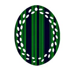 Dark Blue Green Striped Pattern Ornament (oval Filigree)