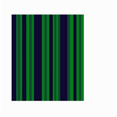 Dark Blue Green Striped Pattern Large Garden Flag (two Sides)
