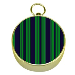 Dark Blue Green Striped Pattern Gold Compasses