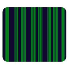 Dark Blue Green Striped Pattern Double Sided Flano Blanket (small)