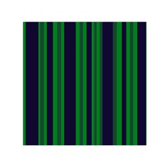 Dark Blue Green Striped Pattern Small Satin Scarf (square)