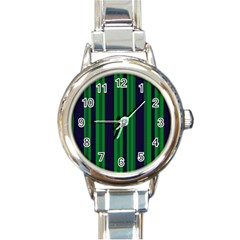 Dark Blue Green Striped Pattern Round Italian Charm Watch