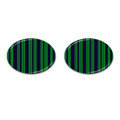 Dark Blue Green Striped Pattern Cufflinks (oval)