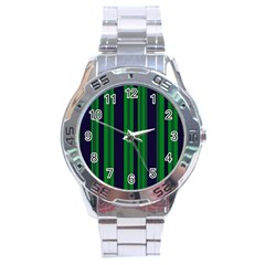 Dark Blue Green Striped Pattern Stainless Steel Analogue Watch