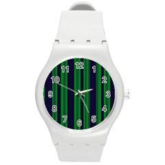 Dark Blue Green Striped Pattern Round Plastic Sport Watch (m)