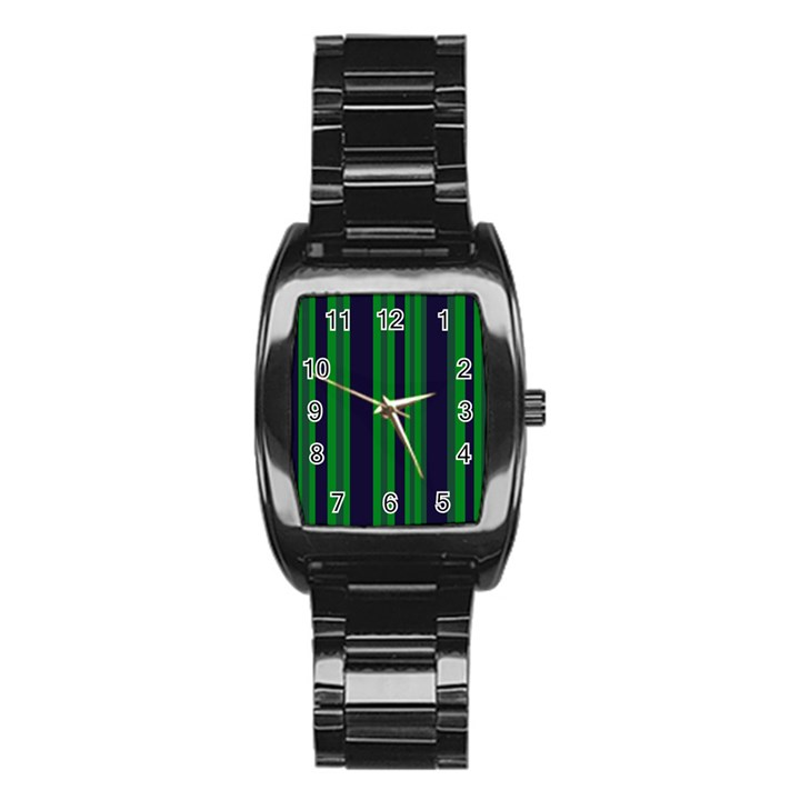 Dark Blue Green Striped Pattern Stainless Steel Barrel Watch