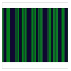 Dark Blue Green Striped Pattern Large Satin Scarf (square)