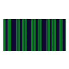 Dark Blue Green Striped Pattern Satin Shawl