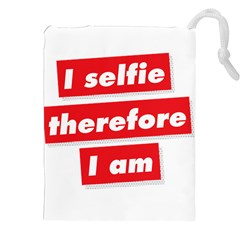 I Selfie Therefore I Am Drawstring Pouches (xxl)