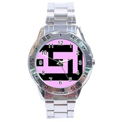 Black And Pink Stainless Steel Analogue Watch