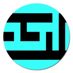 Black And Teal Magnet 5  (round)