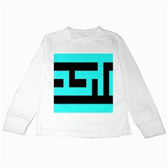 Black And Teal Kids Long Sleeve T Shirts
