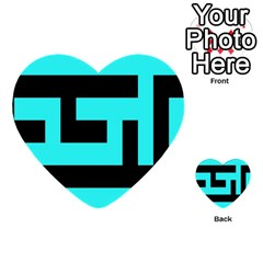 Black And Teal Multi Purpose Cards (heart)
